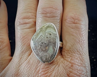 Crazy Lace Agate Statement Ring - Size 8
