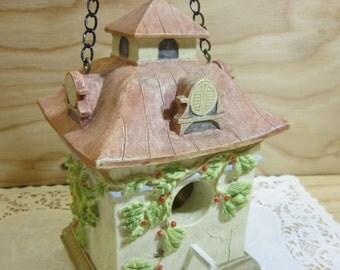 Vintage Decorative Stoneware Pottery Birdhouse * Shabby Chic Birdhouse * Birdhouse Garden Decor