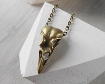 Pendant bird head, bronze chain necklace