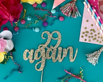 29 Again Cake Topper Happy Birthday Anniversary Glitter Cake Decoration Party Supply for Him Her Guest of Honor Twenty Nine Cake Pick