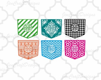 Shirt Pocket Monogram Frames SVG, Patterned monogram cutting file, SVG Eps Png Dxf, Cricut, Silhouette, Digital Cut Files