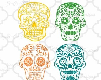 Sugar Skull SVG File-Day of the Dead SVG File Cutting File Set in Svg, eps, dxf and PNG Format for Cricut and Silhouette