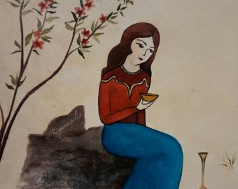 Persian miniature painting, norooz, mothers day gift, Yalda Night, Norooz gift, Norouz, Nowruz, Persian Art, made in canada