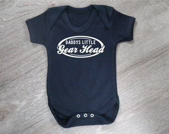 Daddys Little Gear Head - Car Enthusiast Funny Fun Baby Grow Body Suit Vest Gift Baby Shower 100% Cotton 11 Colours Made in UK BG109
