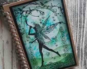 Fairy Notebook,OOAK notebook,Hard back notebook,lined notebook, Fairy Journal,c6 notebook,magical fairy,green fairy