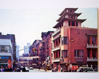 Chinatown New York City Postcard / Vintage Chinatown Postcard / Matt Street Chinatown