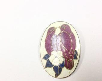 Vintage, 1980s, cloisonné enamel, lovebirds brooch signed.