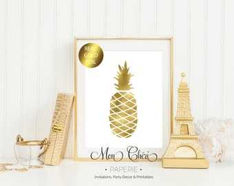 Pineapple Gold Foil Print / 5x7 OR 8x10 Real Gold Foil Print