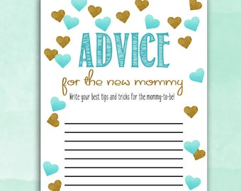 Baby Shower Game Cards - Advice for Mommy - Teal Blue Hearts - Instant Printable Digital Download - diy Baby Shower Shower activities boy