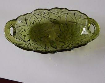 INDIANA GLASS OVAL Dish, Lily Pons Relish or Candy Dish, Avocado Oval Dish, Handled Sunflower Serving Dish,