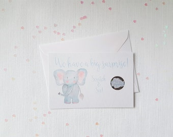 Elephant Scratch Off Gender Reveal Cards, It's A Boy, It's A Girl, Fun Gender Reveal, Cute Cards, Pregnancy Announcement, Baby Shower