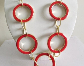 Long Necklace with Red Enamel Metal Rings/Bohemian Necklace/Statement Necklace/Bib Necklace
