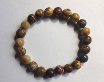 Leopard Jasper Gemstone Bracelet/ Reiki Healing Crystal Jewelry