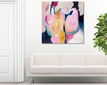 Large ABSTRACT painting, pink, grey, blue, GICLEE PRINT, contemporary abstract painting, modern abstract canvas art titled 'Tea & Roses'