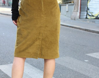 Madam / right skirt / Vintage / corduroy / split / tailor / set / 90's / mustard / Made In France