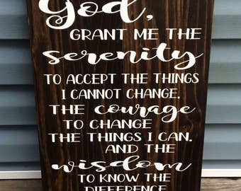 Lord's Serenity Prayer- Handpainted wooden sign