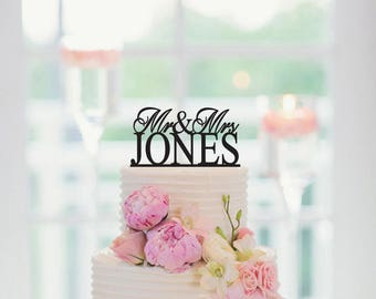 Wedding Cake Topper, Mr And Mrs Cake Topper, Custom Last Name Cake Topper, Personalized Cake Topper Last Name, Wedding Decor, 003