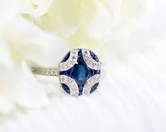 Blue sapphire and diamond art deco white gold ring - Vintage inspired white gold ring, Art deco wedding ring, Sapphire engagement ring