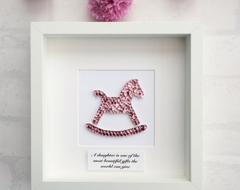 Personalised new baby girl,  rocking horse picture, rocking horse decor, christenings gift, naming day, personalised nursery wall art