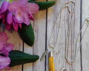 Suede Tassel Necklace---Diffuser Necklace---Fringe Necklace---Long---Essential Oil Necklace---