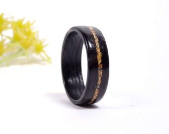 Wooden wedding Ring Ebony and Gold Leaf Sheets // wooden ring for women // golden ring // wood ring // wedding band // Engagement band