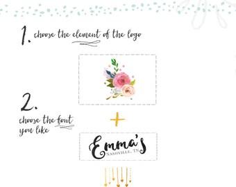 Custom Logo Watercolor Floral Logo Wreath Logo Design Restaurant Logo Etsy Logo Website Branding Blog Logo Boutique Logo Business Branding