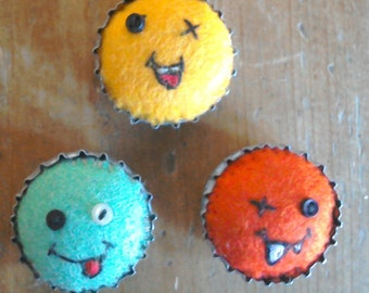 Set of three handmade monster fridge magnets