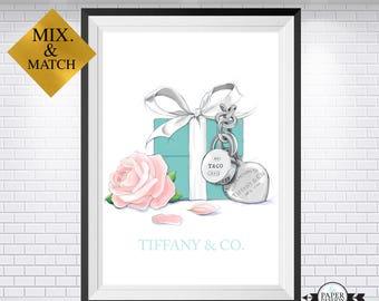 Tiffany & C0,Tiffany poster, Tiffany print, Fashion Print, Tiffany home decor,