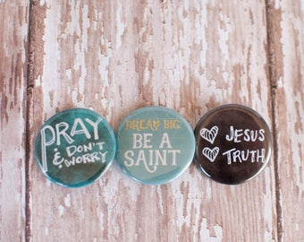 Catholic Saint in Training Button Set, Catholic Gifts Under 10, Christian Pinback Buttons, Religious Pieces of Flair, 502013