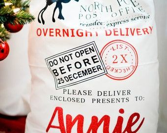 Personalized Santa Sack - Christmas Gifts - Canvas Tote- Christmas tote - Holiday Sacks - Holiday Bags - Santa Sack