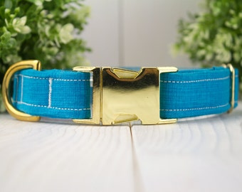 Bold Blue adjustable Dog Collar with Metal Buckle