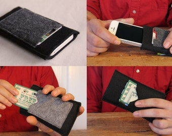 Felt phone sleeve case wallet with pocket