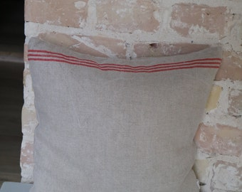 pillow from antique linen: fine red stripes / 40*40cm