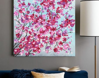 Cherry blossom painting, Palette knife Floral art, Contemporary Acrylic painting, Abstract art, Impasto Texture Flowers, Modern wall art 24""