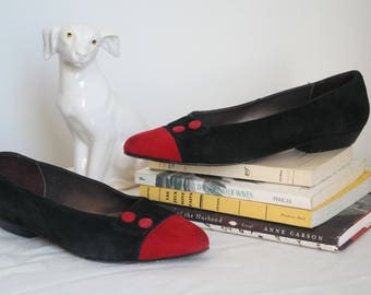 80s suede red and black cap toe flats size 8.5 made in Italy 1980s retro ballet flats pointy toe slip on