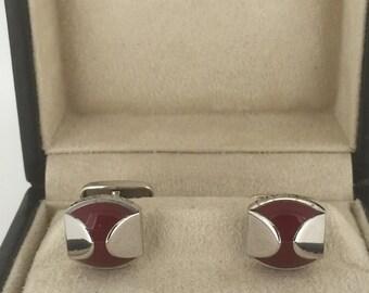 Bvlgari (BVLGARI) Sterling Silver and Red Agate Cufflinks in original box
