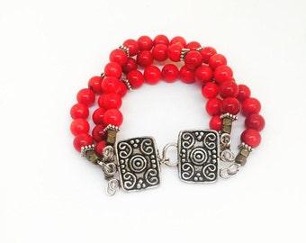 coral bracelet  - triple bracelet