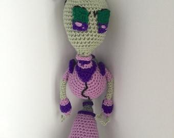 SALE--Crochet Amigurumi Tall Green Alien with Purple Outfit Plush
