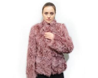 Fur Jacket Lamb,Pink Fur,Pink Jacket,Real Fur Jacket,Genuine Fur Jacket,Woman Fur Jacket,Persian Lamb Skin Fur,Pink Lamb Fur Jacket F222