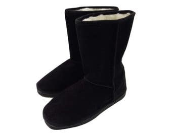 Black Mouton Boots,Handmade Boots,Warm Boots,Gift for Her F503