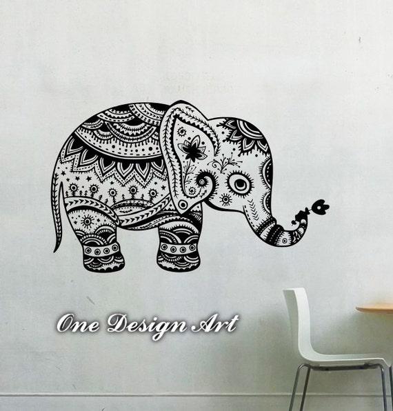 Mandala Elephant Design Art Pattern Wall Decal Vinyl Decal