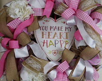 Pink White and Burlap You Make My Heart Happy Valentine Wreath with Hydrangeas; Love Wreath; Valentine Decor;; Girl's Room Nursery Decor