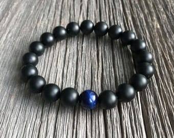 Men's Beaded Bracelet - 10mm or 8mm Matte Onyx and Single Blue Tiger Eye Stretch Bracelet, Gemstone Beaded Bracelet
