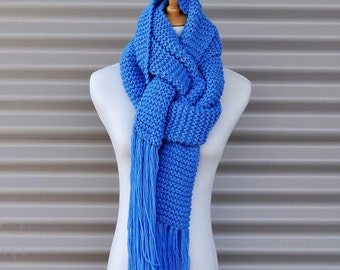 hand knit scarf, unique handmade scarf, Knitted scarf, Gift for her, Wool scarf, Knitted scarves, Chunky knit scarf, fringe scarf.16 colours