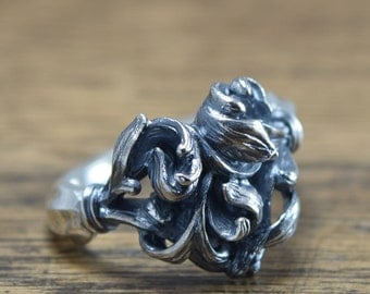 Complicated Heart Ring,delicate hand carving,925,Solid Sterling Silver