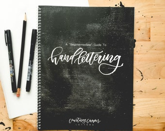 Hand Lettering Workbook Begintermediate Guide, Pen + Pencil, Hand Lettering Guide, How To Hand Letter, Hand Letter, Handlettering