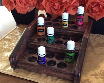 Essential oils rack / oil organizer / 27 bottle EO holder, Storage display for Young Living / doTerra 5ml + 15ml bottles, 4 color choices!