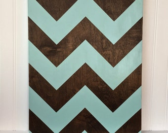 Teal Chevron Sign - Wood Sign, Hand Painted, Hand Stained, Decor, Mantle Decor