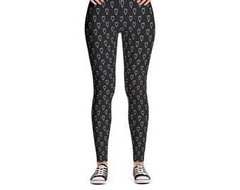 Subtle Heart Leggings - Women's Active Wear Pants - Zen Yoga Pants - Sizes XS to XL - Polyester/Spandex - Gift Idea for Her
