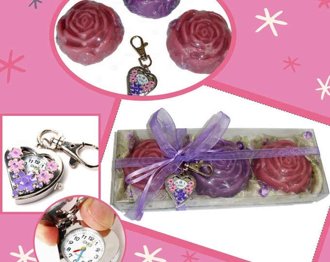 Exclusive purple gift, Luxury Soaps Gift, Fashion Heart Pocket Watch Key Ring, Spring Shopping, Flower Glycerin Soaps, Gift for young lady